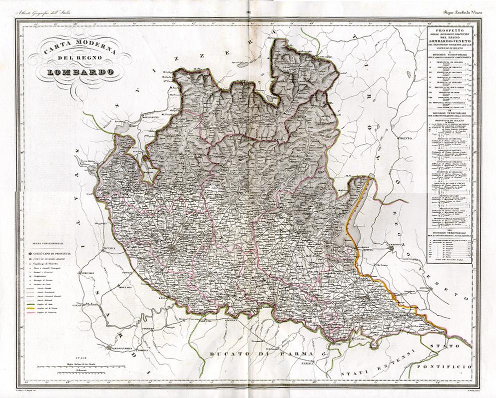 La Cartina Fisica Della Lombardia.24747 Lombardia Collezione Cavalleri